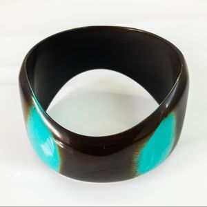 Vintage Brown and Turquois Asymmetrical Bangle